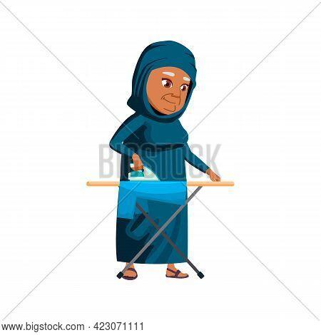 Old Arab Woman Ironing Clothes Cartoon Vector. Old Arab Woman Ironing Clothes Character. Isolated Fl