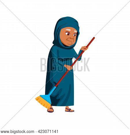 Aged Islamic Woman Sweeping Backyard Floor With Broom Cartoon Vector. Aged Islamic Woman Sweeping Ba