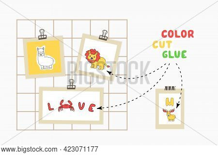 Print Color Cut Glue Paper Game For Children Development. Cut Alphabet Cards Parts, Color, Glue On T