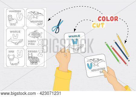 Color Cut Glue Paper Game For Preschool Children Development. Cut Alphabet Cards Parts Of The Image,