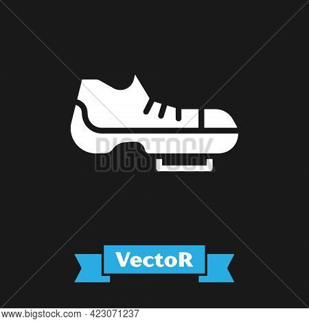 White Triathlon Cycling Shoes Icon Isolated On Black Background. Sport Shoes, Bicycle Shoes. Vector