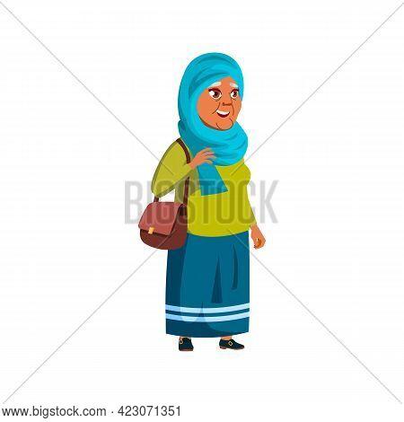 Muslim Elderly Lady Shopping In Fashion Store Cartoon Vector. Muslim Elderly Lady Shopping In Fashio