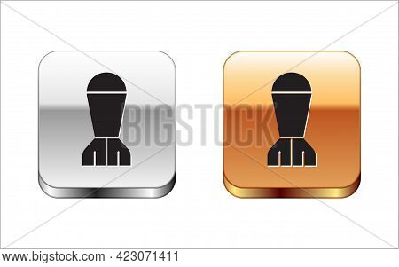 Black Aviation Bomb Icon Isolated On White Background. Rocket Bomb Flies Down. Silver-gold Square Bu