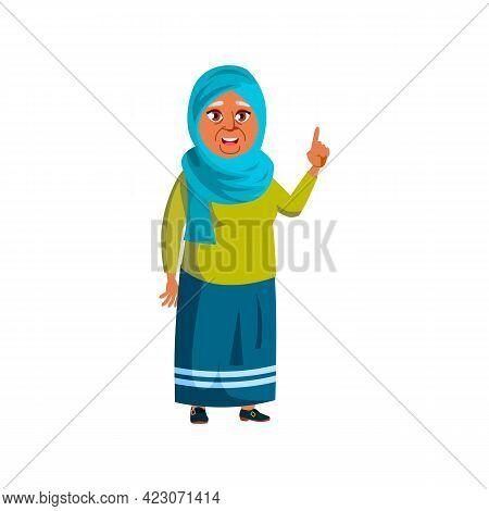 Pretty Islamic Woman Pensioner Remember Story Cartoon Vector. Pretty Islamic Woman Pensioner Remembe