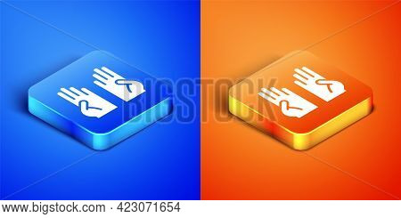 Isometric Rubber Gloves Icon Isolated On Blue And Orange Background. Latex Hand Protection Sign. Hou
