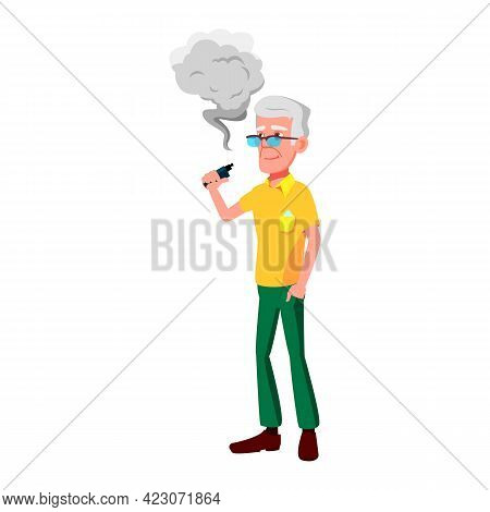 Mature Age Man Smoking Vape Device Cartoon Vector. Mature Age Man Smoking Vape Device Character. Iso