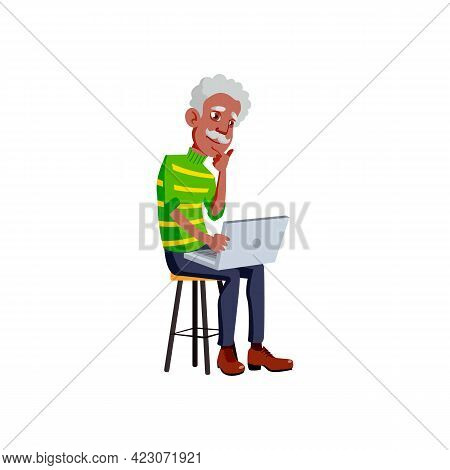Old Man Reading Article On Laptop Screen Cartoon Vector. Old Man Reading Article On Laptop Screen Ch