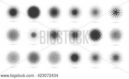 Circle Halftone Set. Modern Dotted Circles Halftones. Black Dotwork Gradients. Illustration.