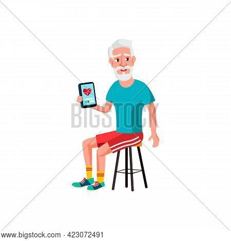 Old Man Examining Heart Beat On Tablet Cartoon Vector. Old Man Examining Heart Beat On Tablet Charac