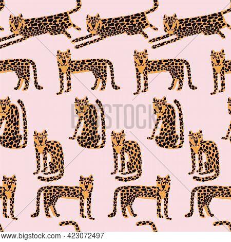 Leopard Seamless Pattern. Wild Animal Leopard Print. Cartoon Funny Gepard.