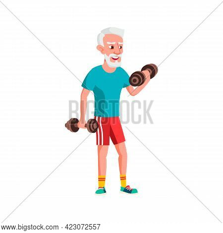 Aged Man Exercising With Dumbbells In Gym Cartoon Vector. Aged Man Exercising With Dumbbells In Gym