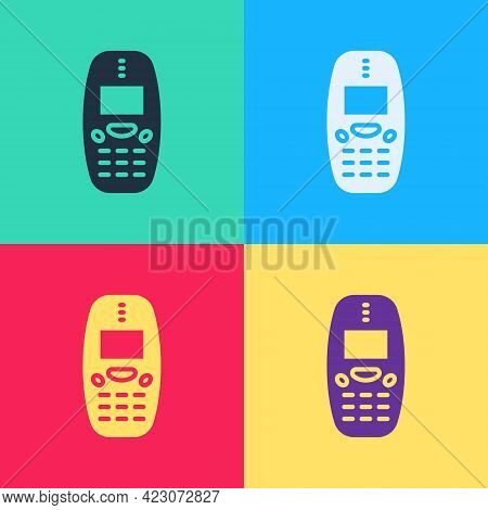 Pop Art Old Vintage Keypad Mobile Phone Icon Isolated On Color Background. Retro Cellphone Device. V