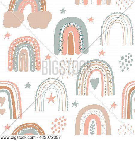 Rainbow Seamless Pattern. Scandinavian Print For Nursery Room. Kids Pastel Doodle Handdrawn Print. I