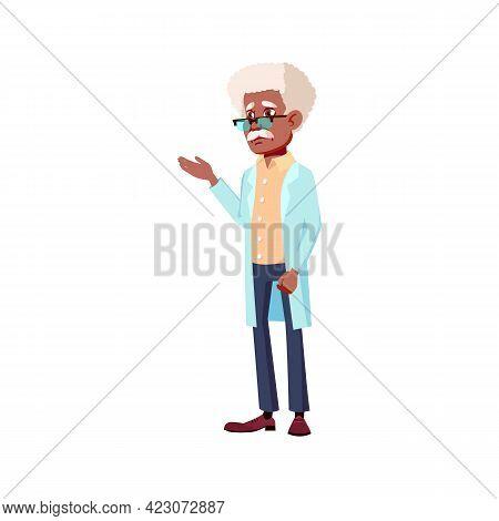 Elderly Man Doctor In Hospital Cartoon Vector. Elderly Man Doctor In Hospital Character. Isolated Fl
