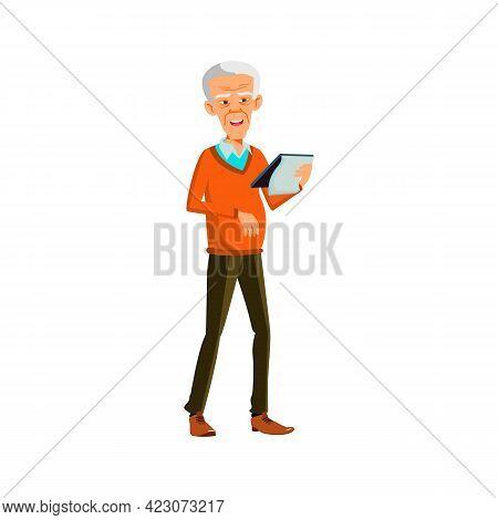 Man Pensioner Reading Text In Notebook Cartoon Vector. Man Pensioner Reading Text In Notebook Charac