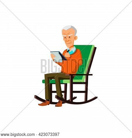 Man Pensioner Sitting In Rocking Chair And Writing Plan In Notepad Cartoon Vector. Man Pensioner Sit