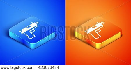 Isometric Pistol Or Gun Icon Isolated On Blue And Orange Background. Police Or Military Handgun. Sma