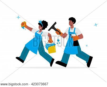 African-american Male And Female Janitors In Uniform With Bucket And Spray, Washing Squeegee Run To