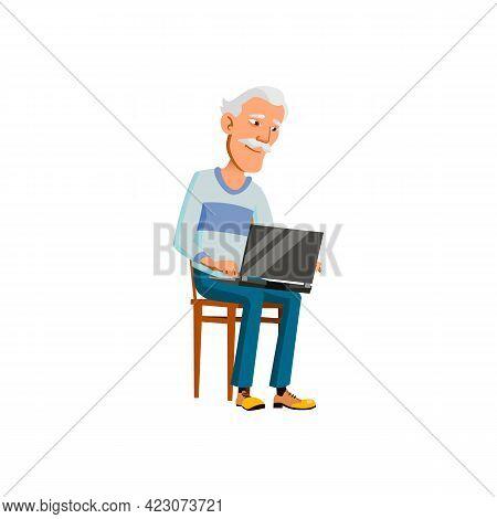 Senior Japanese Man Working On Laptop In Kitchen Cartoon Vector. Senior Japanese Man Working On Lapt