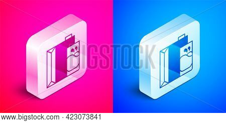 Isometric Paper Package For Milk And Glass Icon Isolated On Pink And Blue Background. Milk Packet Si