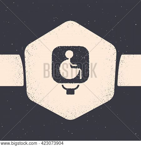 Grunge Disabled Wheelchair Icon Isolated On Grey Background. Disabled Handicap Sign. Monochrome Vint