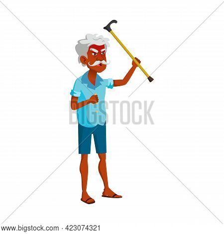 And Old Man Threaten With Stick And Shouting At Repair Service Worker Cartoon Vector. And Old Man Th