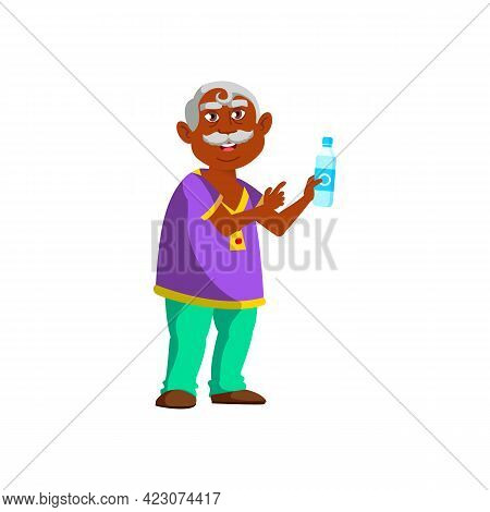 Grandfather Offering Water Bottle To Friend In Park Cartoon Vector. Grandfather Offering Water Bottl