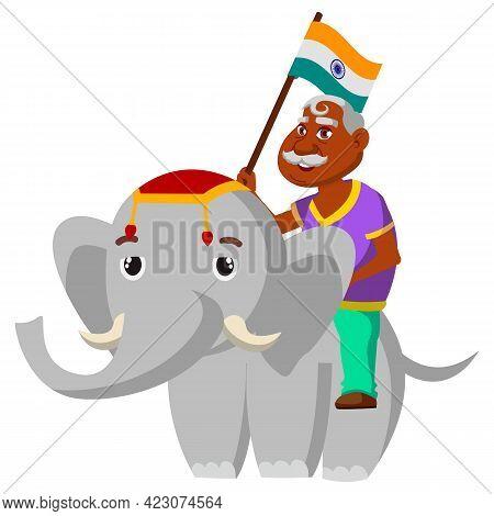 Old Man Holding India Flag Riding On Elephant Animal Cartoon Vector. Old Man Holding India Flag Ridi