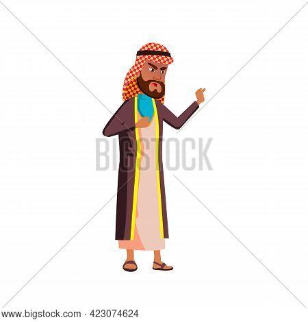 Angry Muslim Man Shouting At Enemy Cartoon Vector. Angry Muslim Man Shouting At Enemy Character. Iso