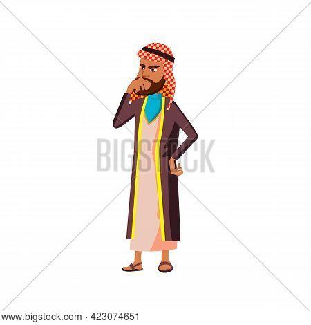 Islamic Man Think How To Solve Problem Cartoon Vector. Islamic Man Think How To Solve Problem Charac