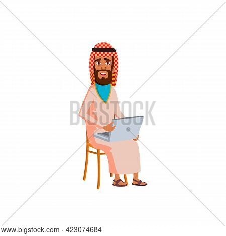 Muslim Man Sitting On Chair And Reading E-book On Laptop Cartoon Vector. Muslim Man Sitting On Chair