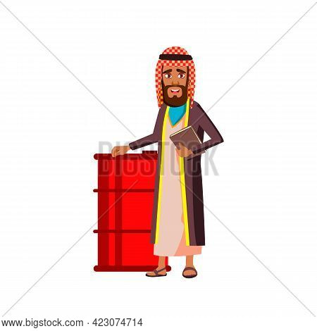 Islamic Man With Notepad Standing Near Oil Barrel Cartoon Vector. Islamic Man With Notepad Standing