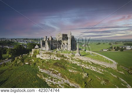 Aerial View Of The Rock Of Cashel, Also Known As Cashel Of The Kings And St. Patrick's Rock, Is A Hi