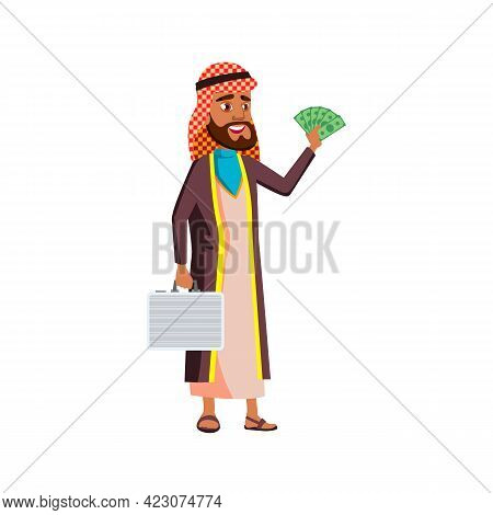 Smiling Man Businessman With Huge Money Buy Company On Auction Cartoon Vector. Smiling Man Businessm