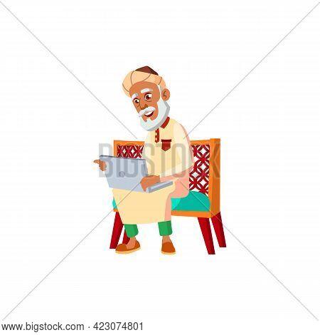 Smiling Muslim Man Pensioner Watching Funny Movie On Notebook Cartoon Vector. Smiling Muslim Man Pen