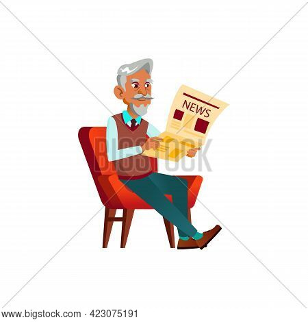 Elderly Man Sitting In Armchair And Reading News In Newspaper Cartoon Vector. Elderly Man Sitting In