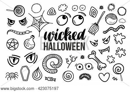 Set 2 With Black And White Hand Drawn Wicked Halloween Illustrations. Vector Doodle Elements And Let