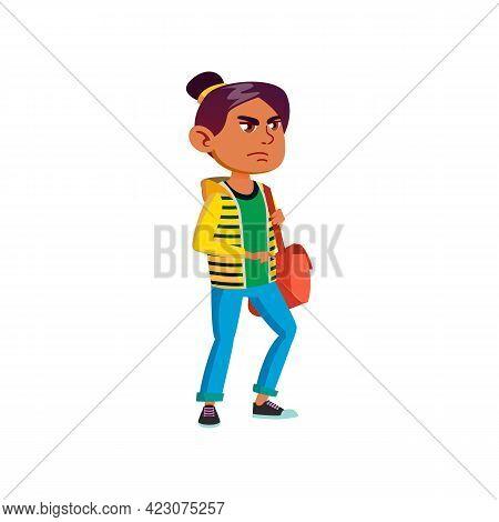 Angry Girl Walking With Bag Cartoon Vector. Angry Girl Walking With Bag Character. Isolated Flat Car