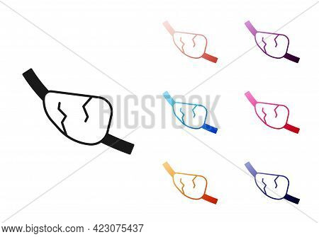 Black Pirate Eye Patch Icon Isolated On White Background. Pirate Accessory. Set Icons Colorful. Vect