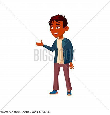 Happiness Boy Speaking Cartoon Vector. Happiness Boy Speaking Character. Isolated Flat Cartoon Illus