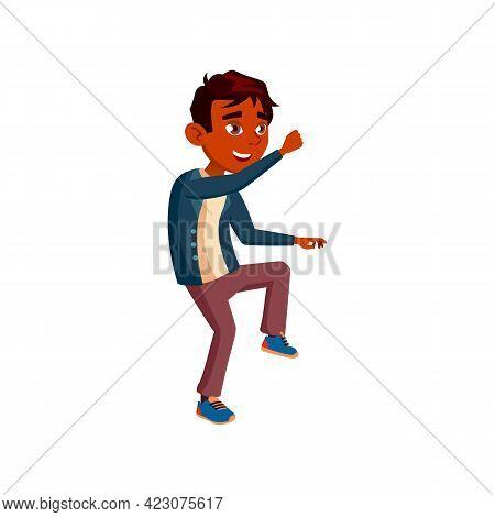 Happy Boy Teen Dancing Cartoon Vector. Happy Boy Teen Dancing Character. Isolated Flat Cartoon Illus