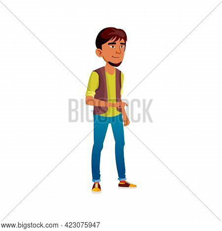 Boy Teenager Smiling And Show With Finger Cartoon Vector. Boy Teenager Smiling And Show With Finger