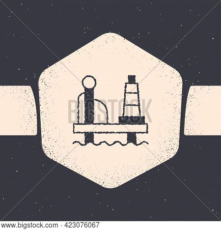 Grunge Oil Platform In The Sea Icon Isolated On Grey Background. Drilling Rig At Sea. Oil Platform,