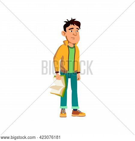 Tired Boy Student With Educational Book Cartoon Vector. Tired Boy Student With Educational Book Char