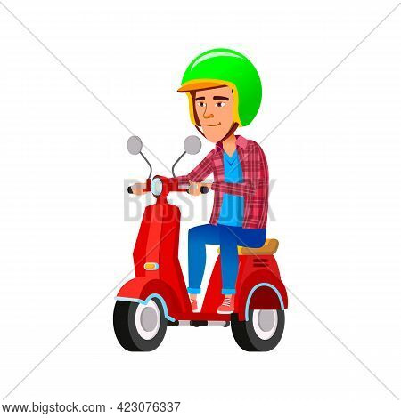 Smiling Boy Teen Riding Scooter Cartoon Vector. Smiling Boy Teen Riding Scooter Character. Isolated