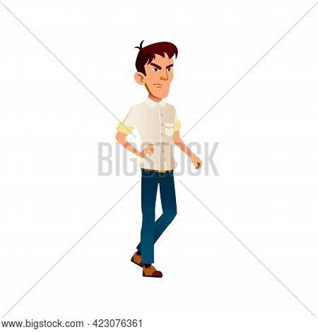 Angry Boy Teen Walking Cartoon Vector. Angry Boy Teen Walking Character. Isolated Flat Cartoon Illus