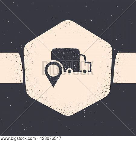 Grunge Delivery Tracking Icon Isolated On Grey Background. Parcel Tracking. Monochrome Vintage Drawi