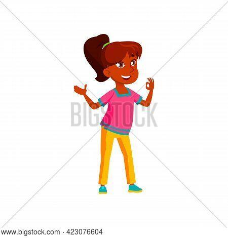 Happy Mexican Girl Approving Idea Cartoon Vector. Happy Mexican Girl Approving Idea Character. Isola