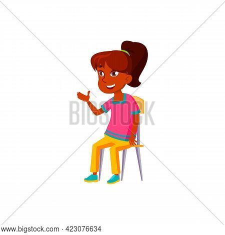 Happy Arab Girl Pupil Discussing On Lesson Cartoon Vector. Happy Arab Girl Pupil Discussing On Lesso