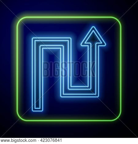 Glowing Neon Arrow Icon Isolated On Blue Background. Direction Arrowhead Symbol. Navigation Pointer